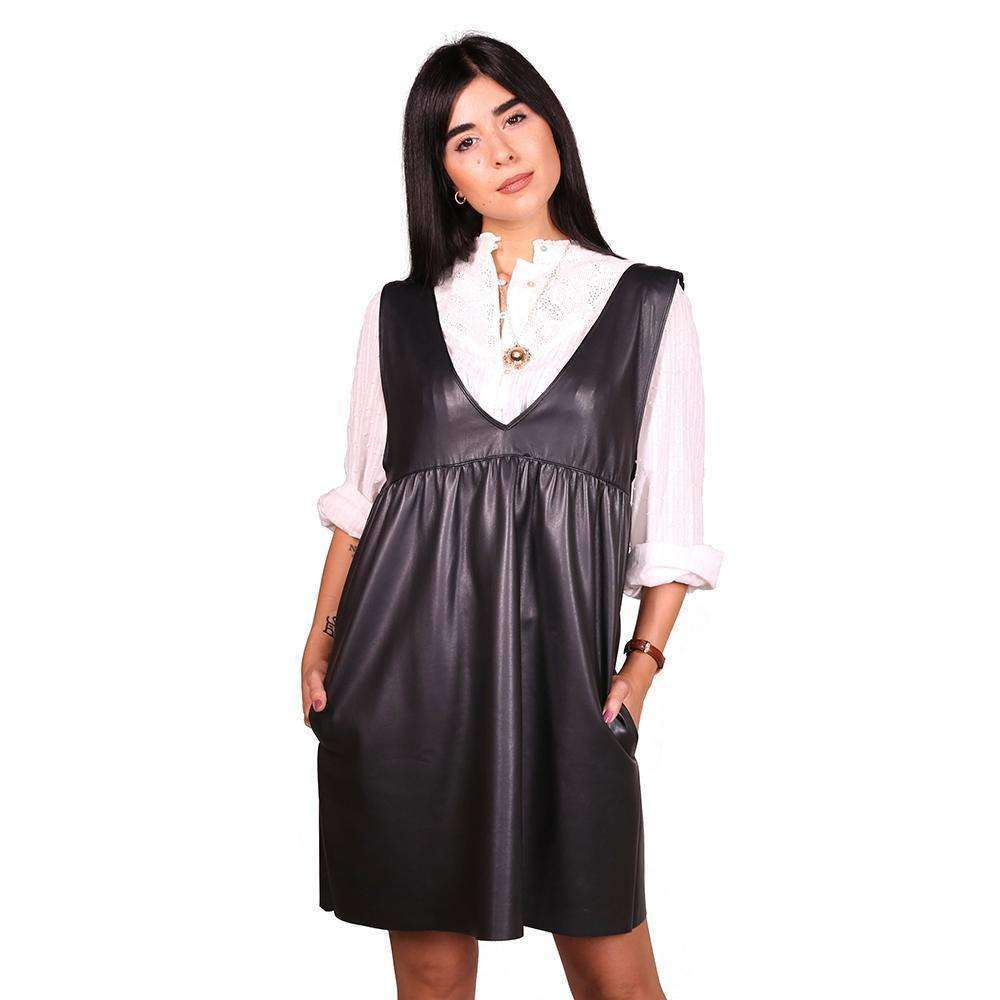 Contemporary Faux Leather Shift Dress Dress Zeina Makki