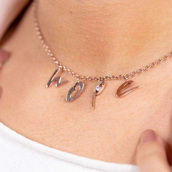 Hope Necklace - Silver - 18 Carat Of Pink Gold