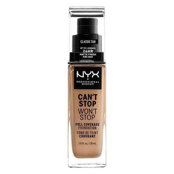 Can't Stop Won't Stop Full Coverage Foundation Foundation NYX Professional Makeup // Classic Tan