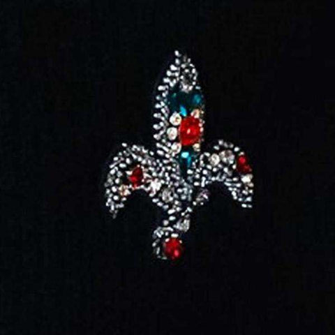 Brooch with black Cornelli and colored crystals