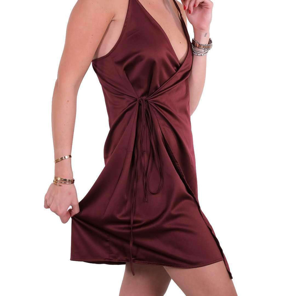 Burgundy Satin Dress Dress Tamara Farra