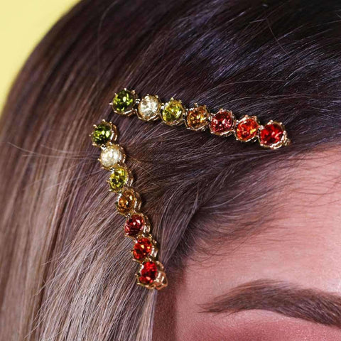 Orange Crystal Hair Pin