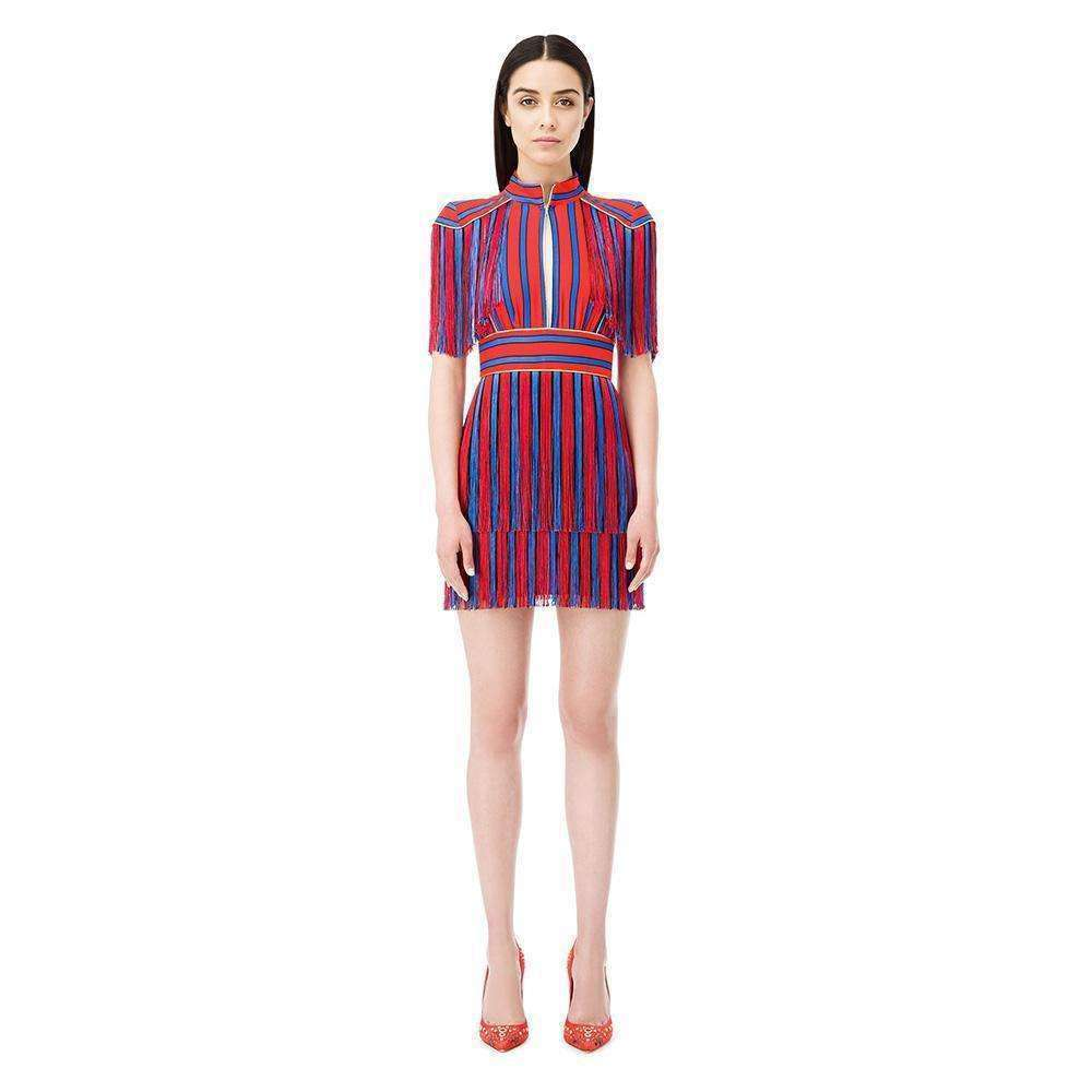 Striped Red and Blue Fringed Dress