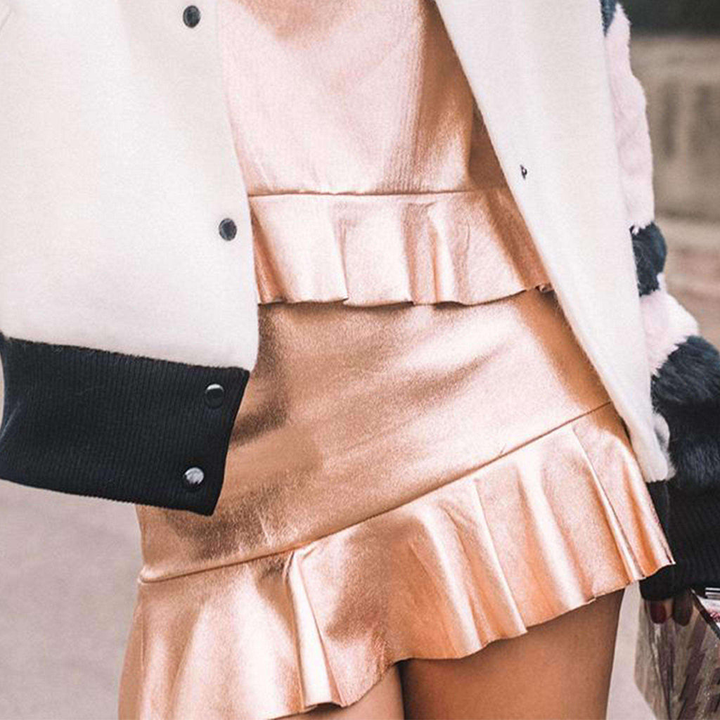 Golden Shimmery Ruffled Skirt