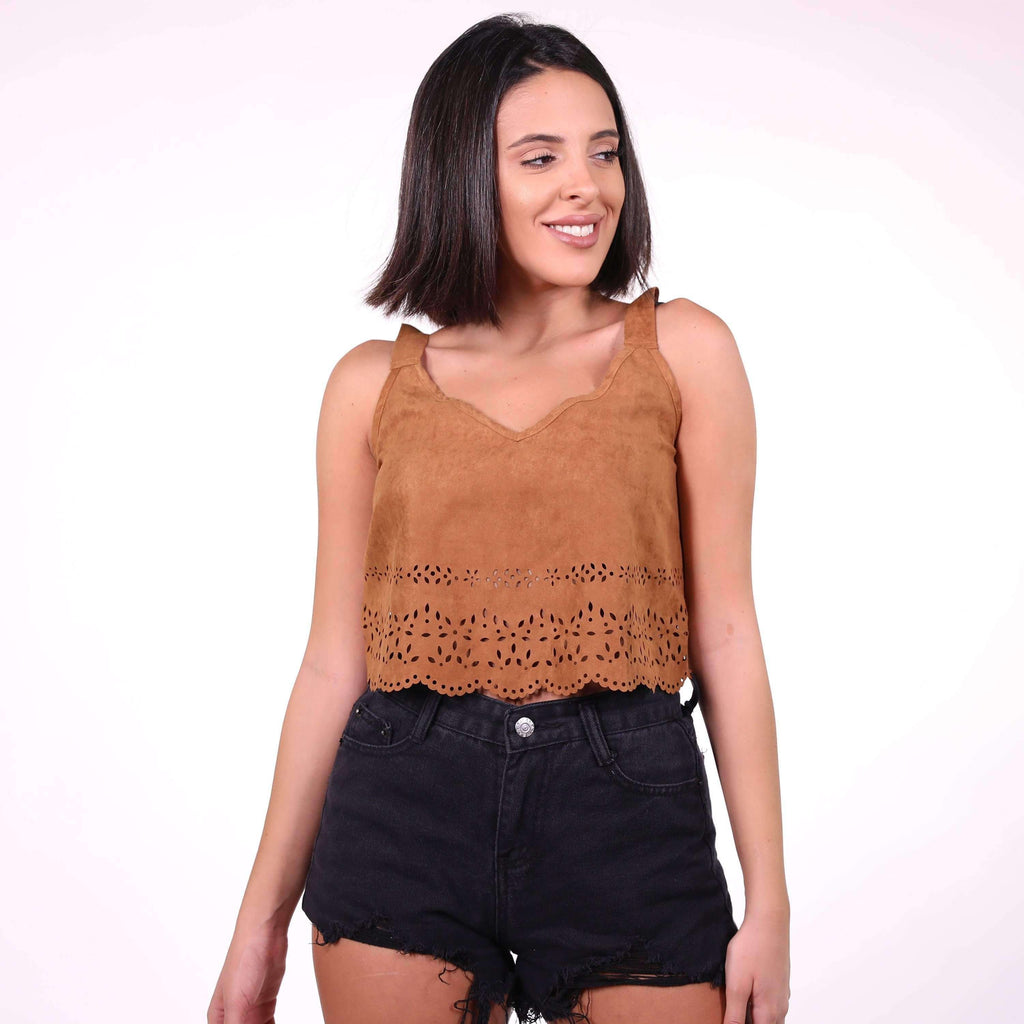 Brown Suede Top Top Nadia Mneimne