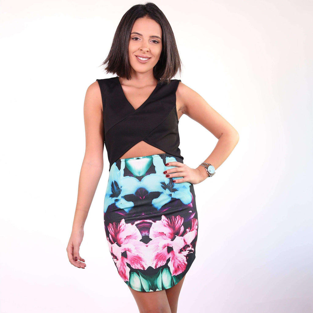 Half black half colorful cut-out mini dress Dress Nadia Mneimne