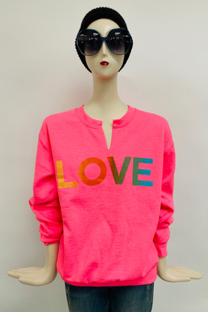 Shorty Printed Sweatshirt- Hot Pink Love