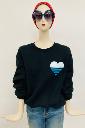 Shorty Printed Sweatshirt- Blue/White Heart