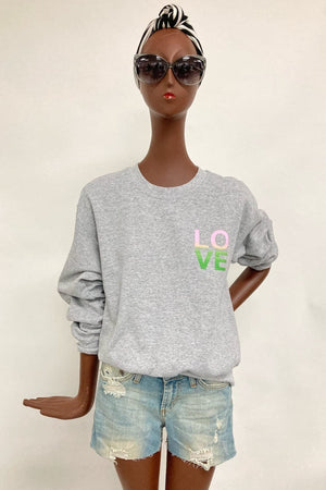 Grey Love Pocket Print Crop Sweatshirt