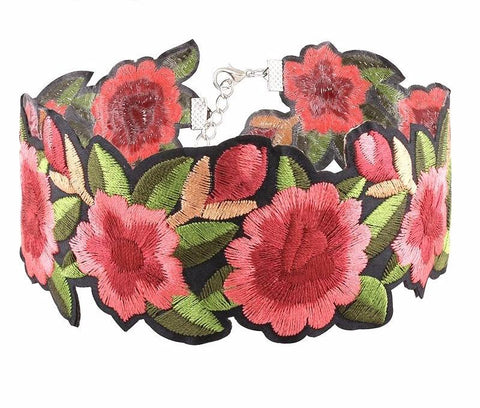 Gia Monet embroidered boho vintage rose flower choker necklace