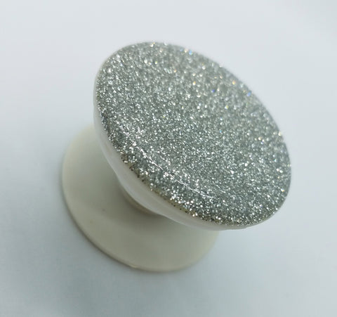 Silver real glitter pop up stand and grip