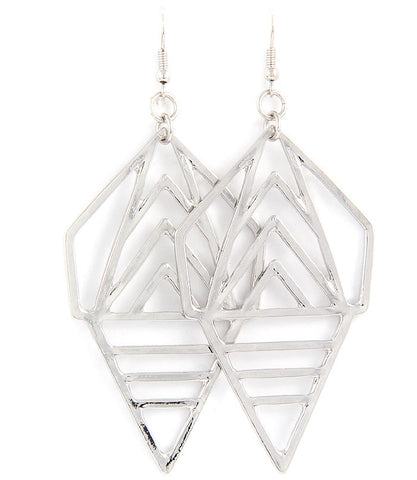 Silver abstract shape drop earrings
