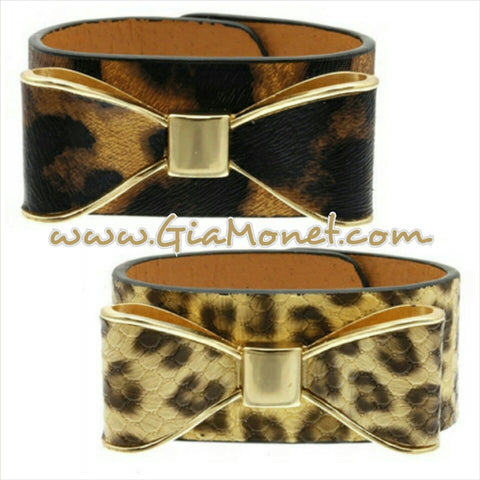 Gia Monet leatherette bow leather cuff animal print cheetah leopard trendy bracelet