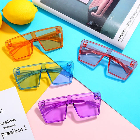 Oversized square frame colorful sunglasses (Pink, Purple, Blue, Orange)