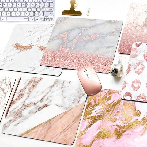 Rose gold marble mouse pad (eyelashes, lips, glitter)