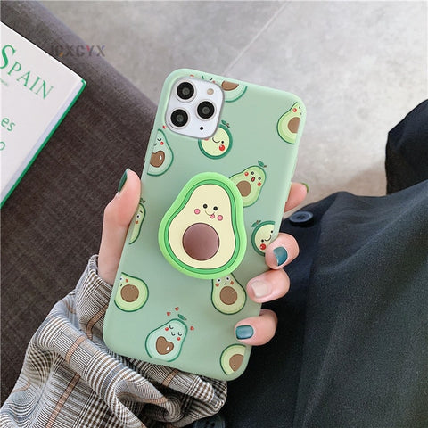 Avocado phone case for iPhone with pop up grip/stand