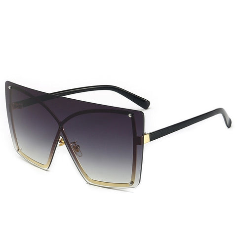 Luxury large frame rimless gradient sunglasses