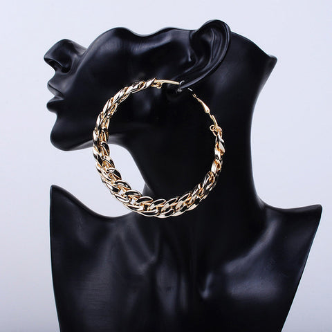 Gia Monet large chain link hoop earrings