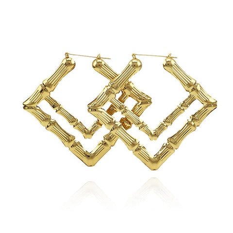 Gia Monet Large bamboo earrings gold and rose gold colors  double square