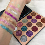 Ultra pigmented 15 pan pressed glitter palette