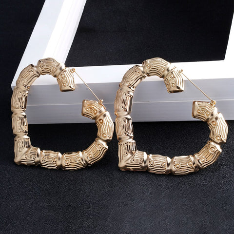Large Style Bamboo Hoop Earrings in gold or silver