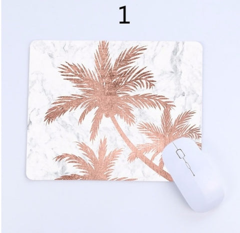 Rose Gold mouse pad (marble, palm trees, hearts, unicorn)
