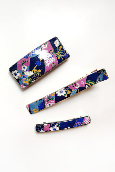Barrette large WASHI Rubans bleu