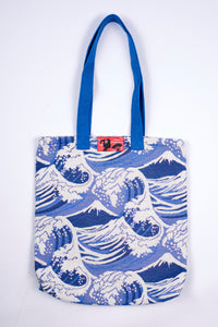 Sac totebag HOKUSAI vague bleu