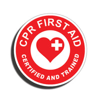 CPR First Aid Sticker Decal Trained Certified