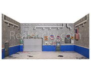 Full RC 1/10 Scale Garage Wall Sticker Blue Cinder Block Shop Printed Decal