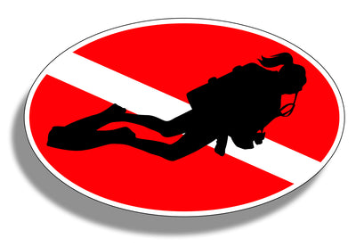 Female Diver Down Sticker