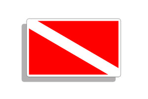 Scuba Diver Down Flag Sticker