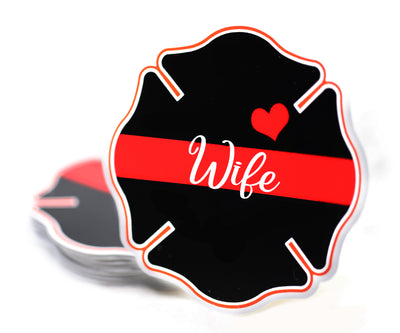 Fireman Wife Maltese Cross Sticker