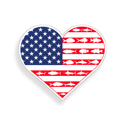 USA Heart American Fish Flag Sticker