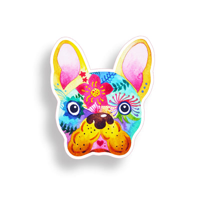 Flower Face Frenchie Sticker