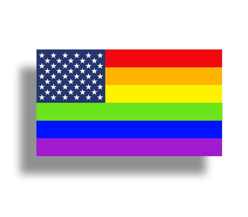 Gay Pride American Flag 6 Lines Sticky Customs