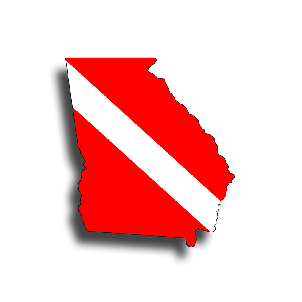 Georgia Diver Down Flag Sticker