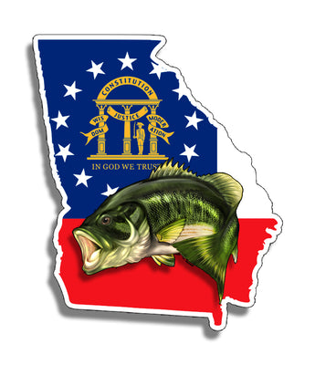 GA Georgia Bass State Sticker Decal