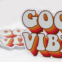 70's Good Vibes Word Sticker