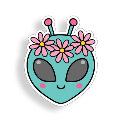 Alien Flower Groovy Sticker