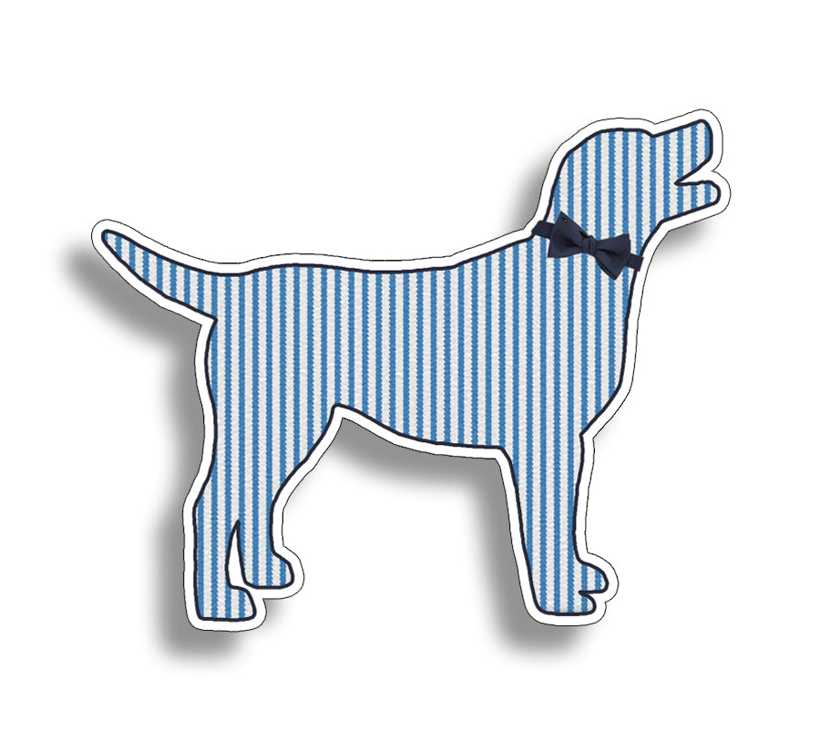 Blue Seersucker Labrador Dog Sticker