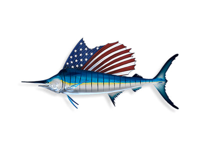 USA American Flag Marlin Sticker