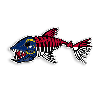 North Carolina Flag Bone Fish Sticker