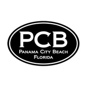 Panama City Beach Black Oval Sticker