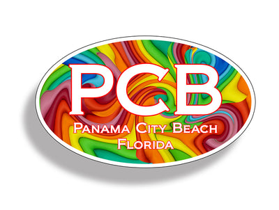 Panama City Beach Retro Oval Sticker