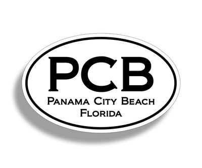 Panama City Beach White Oval Sticker