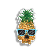 Pineapple Skull with Blue Sunglasses Sticker