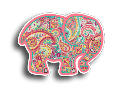 Paisley Elephant Sticker