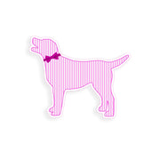 Pink Seersucker Labrador Dog Sticker
