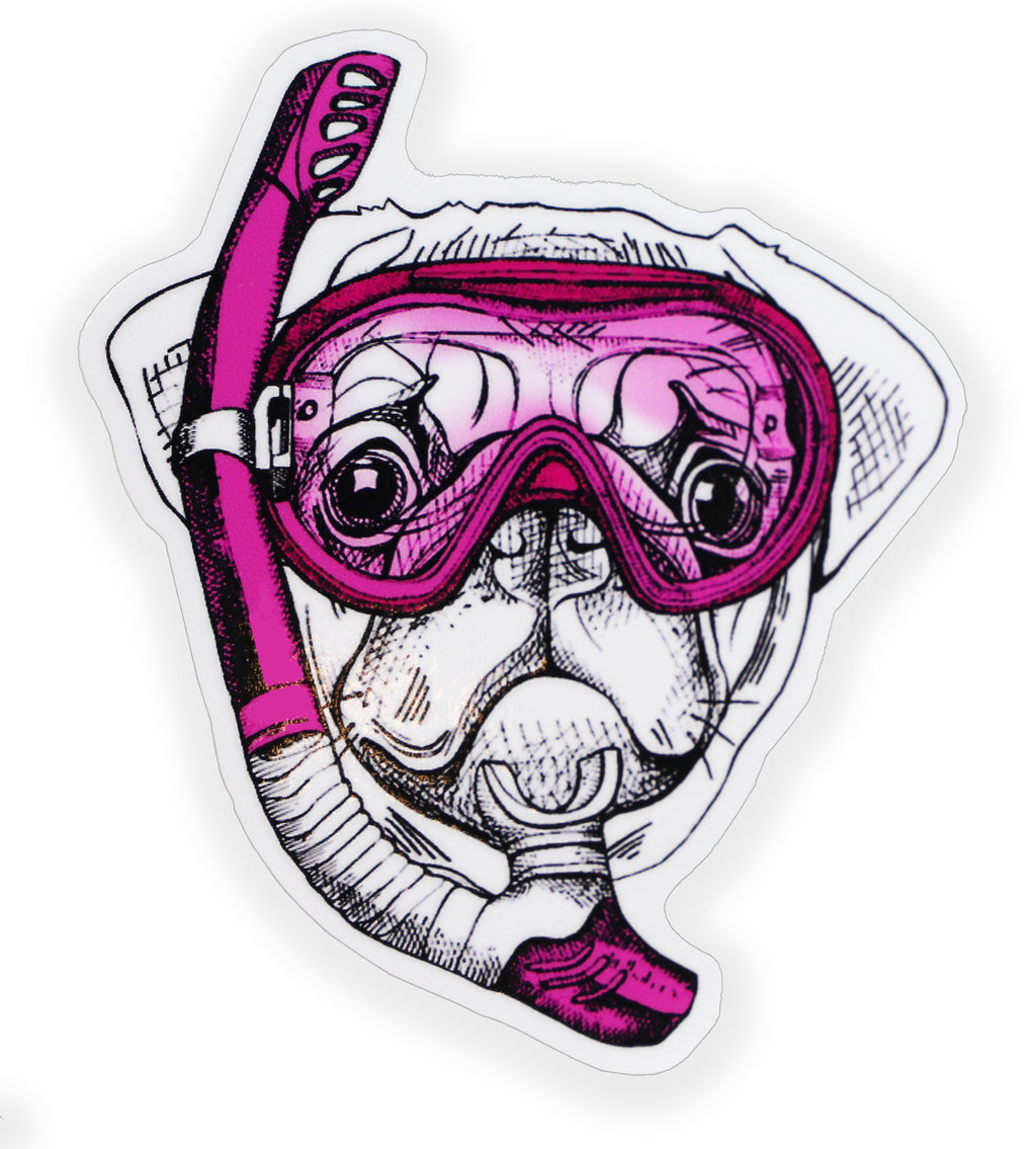 Pink Pug Snorkel Mask Sticker
